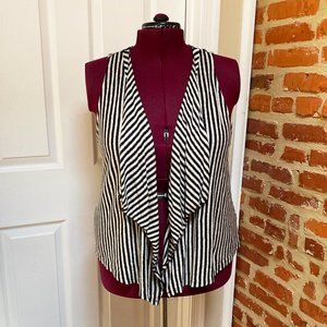 NWT INC Waterfall Draped Front Striped Linen Vest